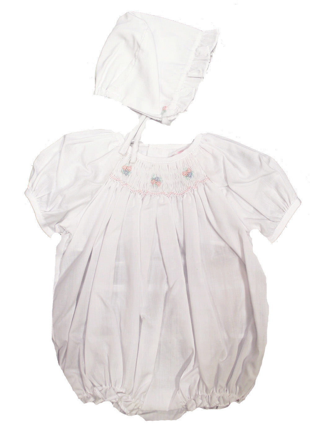 White Smocked Bubble & Bonnet