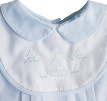Load image into Gallery viewer, Blue Sailboat Shadow Embroidered Romper with Bib
