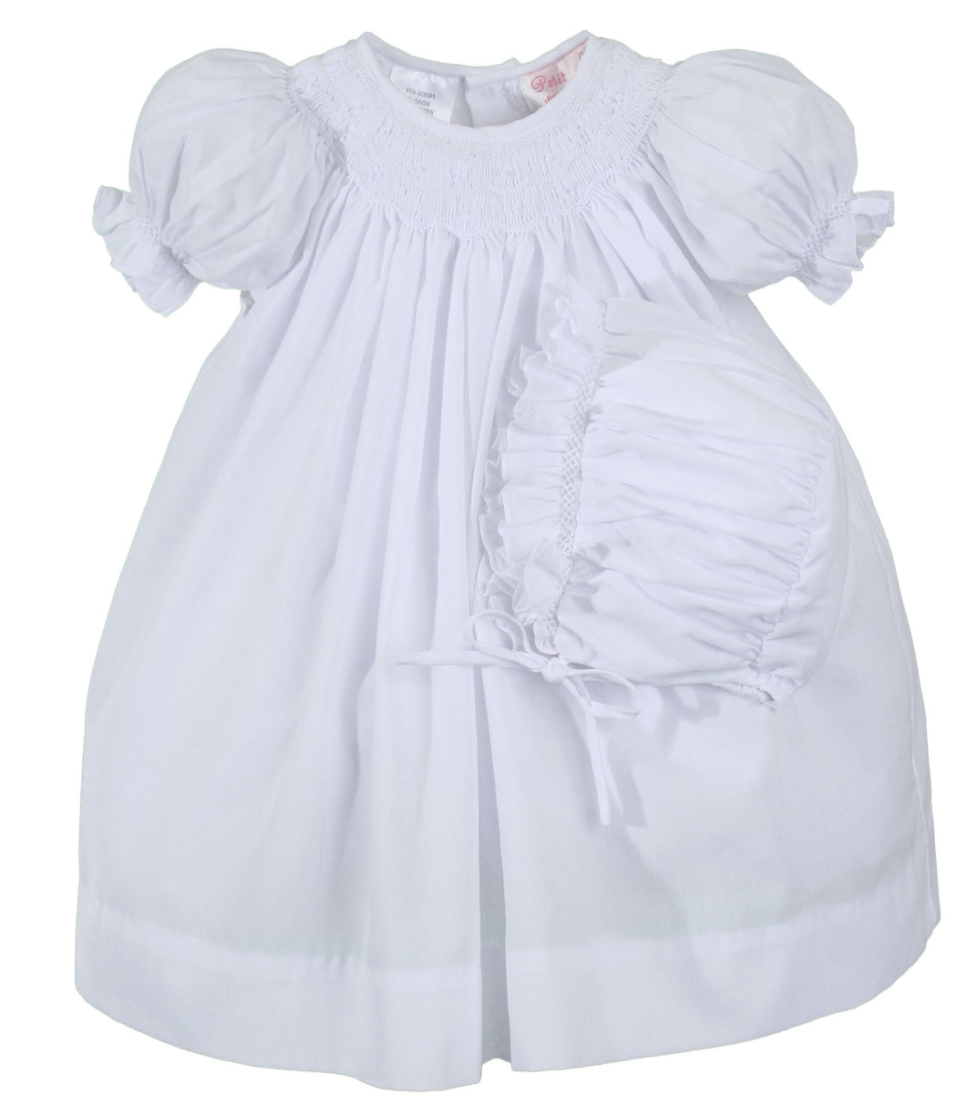 White Smocked Daydress with Bonnet