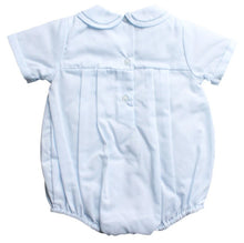 Load image into Gallery viewer, Baby Blue Boys Tucked Romper & Hat