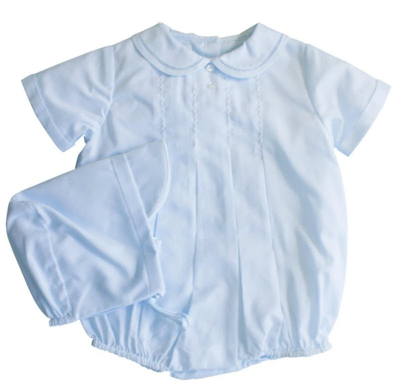 Baby Blue Boys Tucked Romper & Hat