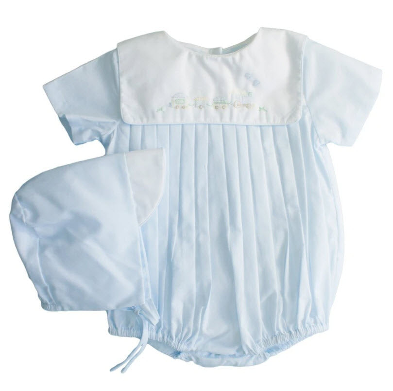 Shadow Embroidered Blue Train Romper & Hat