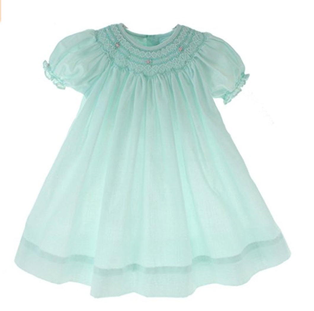 Mint Green Smocked Day Dress with Pink Rosettes & Pearls