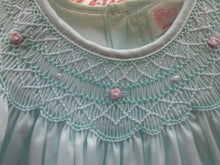 Load image into Gallery viewer, Mint Green Smocked Day Dress with Pink Rosettes & Pearls