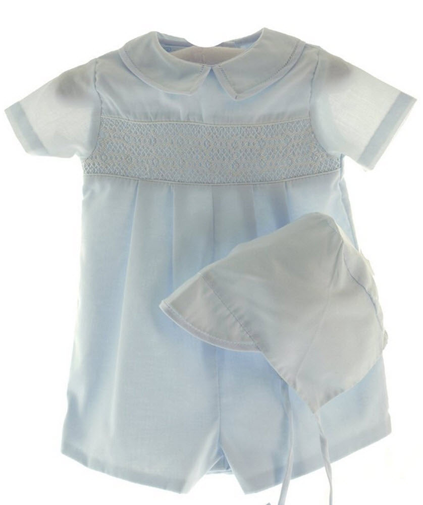 Blue Smocked Romper with Hat