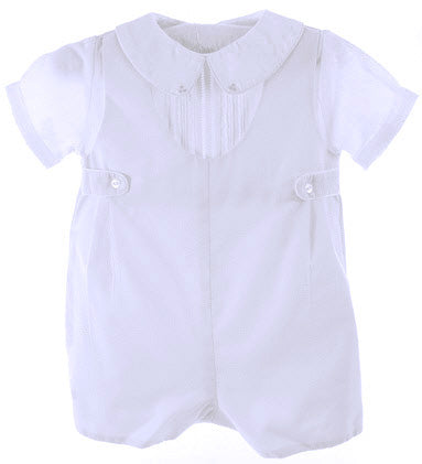Boys White Romper with Attached White Shirt
