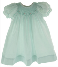 Load image into Gallery viewer, Mint Green Smocked Day Dress with Rosettes