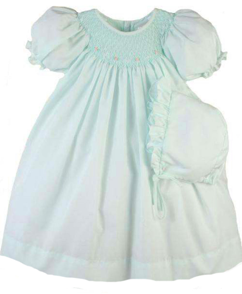 Mint Green Smocked Day Dress with Rosettes