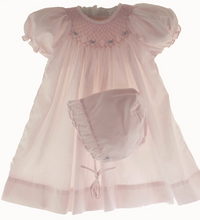 Load image into Gallery viewer, Pink Smocked Day Dress with Blue Rosettes