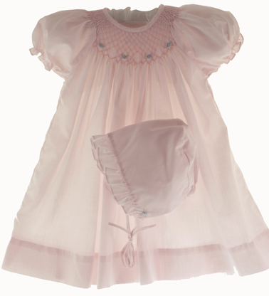 Pink Smocked Day Dress with Blue Rosettes