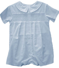 Load image into Gallery viewer, Blue Smocked Romper with Hat