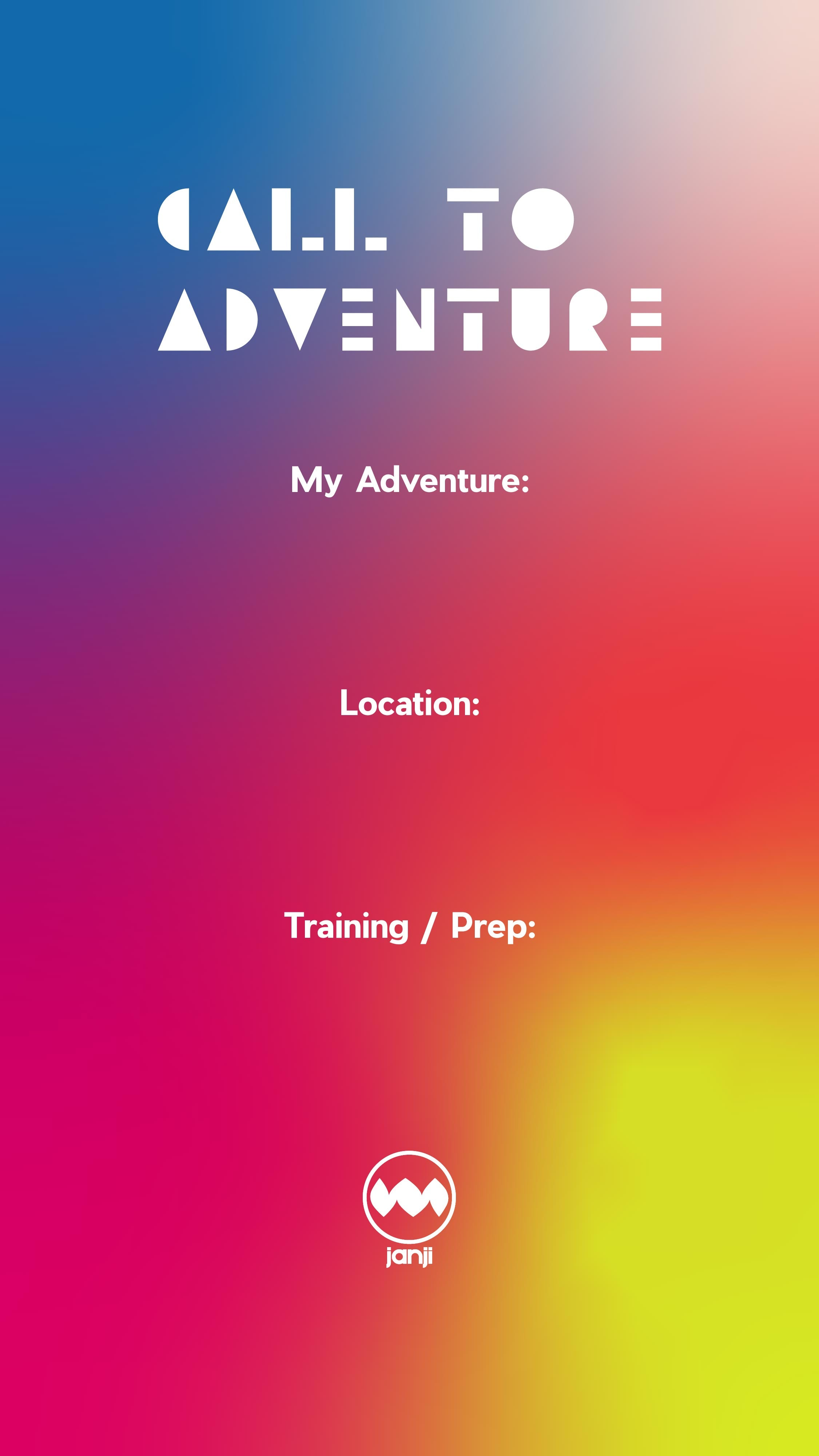Template for social media with a gradient background and three categories; My Adventure, Location, Training/Prep
