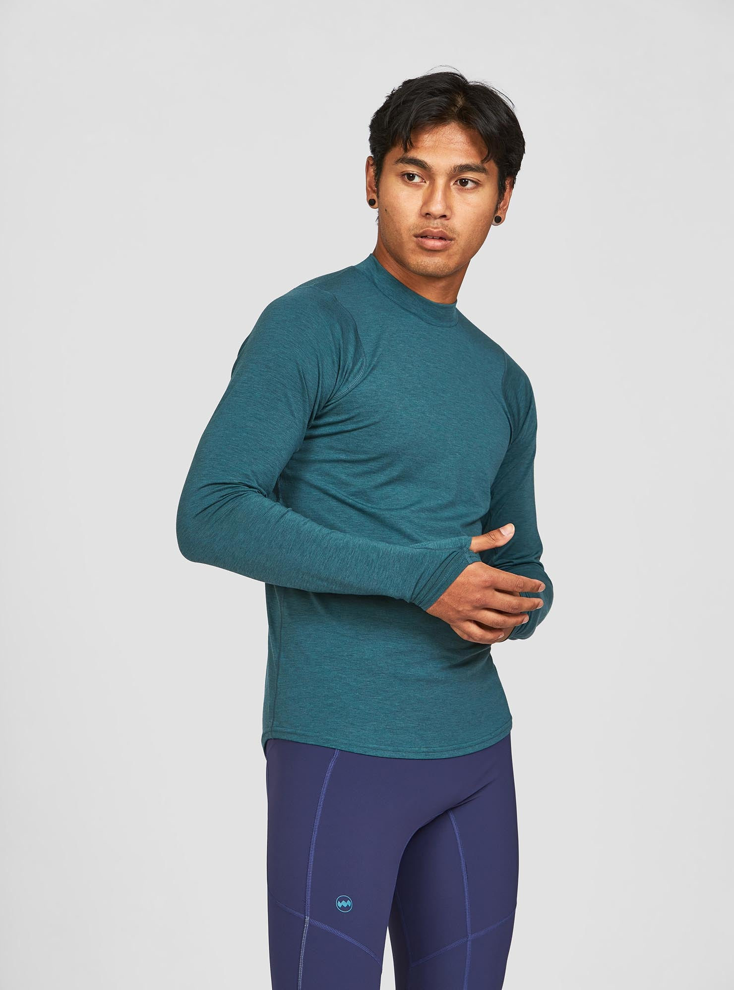 M's Swift Tech Mockneck LS in Atlantic