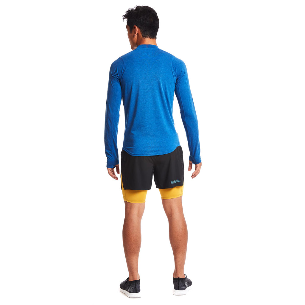 M's Swift Tech Merino LS Mock-Neck in Azure