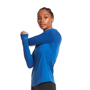 W's Swift Tech Merino LS Mock-Neck in Azure