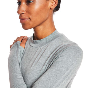 W's Swift Tech Merino LS Mock-Neck in Pebble