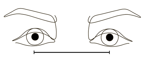PD distance - Diagram showing the distance between the centre of both pupils