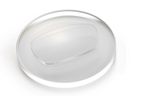 Round optical concave lens with an oblong shape on top