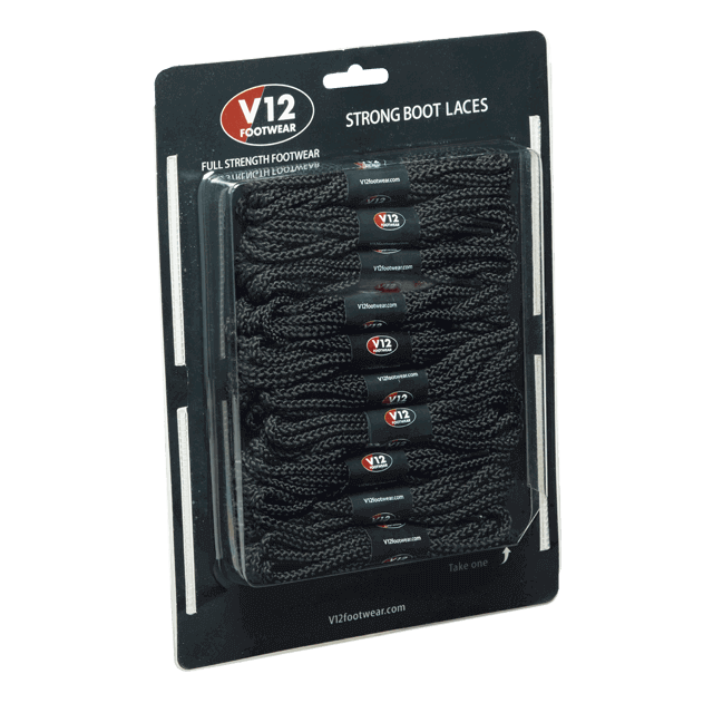 V12LCBL Black Strong Boot Laces (10 pack)