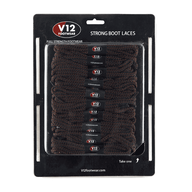 V12LCBR Brown Strong Boot Laces (10 pack)