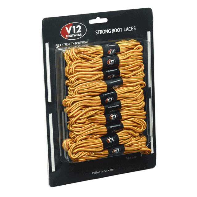V12LCYL Yellow Strong Boot Laces (10 pack)