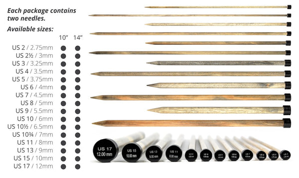 "12"" Wooden Single Point Knitting Needles"