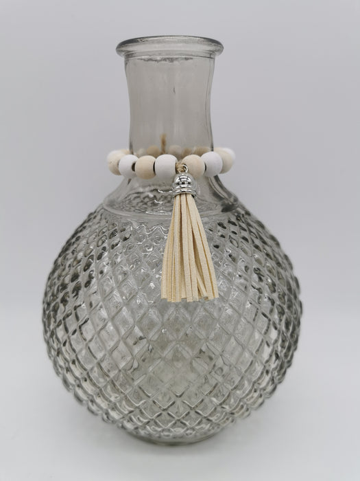 Lg taupe glass vase with beaded collar