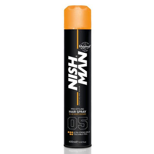 Nishman Hair Spray 05 Extra Strong Hold Hair Spray Natural Shine 400 ml - Barber Products