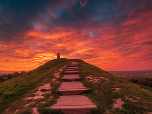 Glastonbury Tor Mounted Print ~ Fire in the Sky