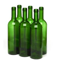 750mL CHAMPAGNE GREEN BORDEAUX FLAT BOTTOM WINE BOTTLE 12/CASE