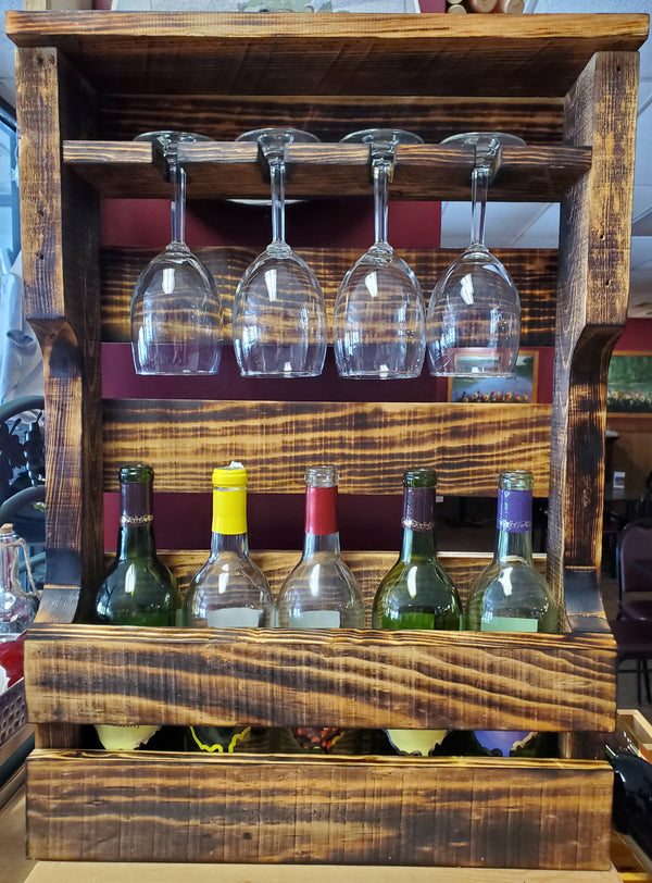 4 glass, 5 bottle wine rack