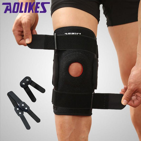 Aolikes 1PCS Knee Brace with Polycentric Hinges Professional Sports Safety Knee Support Black Knee Pad Guard Protector Strap joelheira