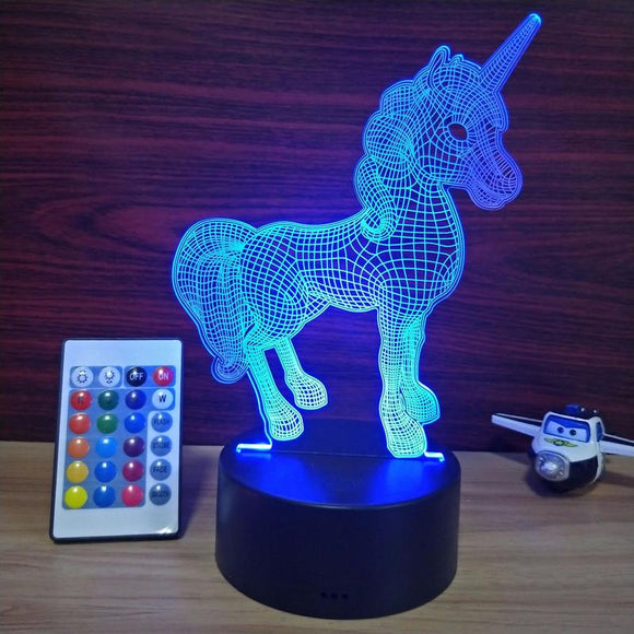 Luminaria 3D Licorne Lampe de Table LED unicornio Lanterne 7 Couleurs Changeantes Veilleuse Lampe Led Cartoon Usb Light Xmas Gifts