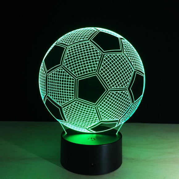 Lampe d'ambiance créative 3D Illusion Light LED Night Light 3D Football Color Change Colorful Atmosphere Light Novelty Lighting