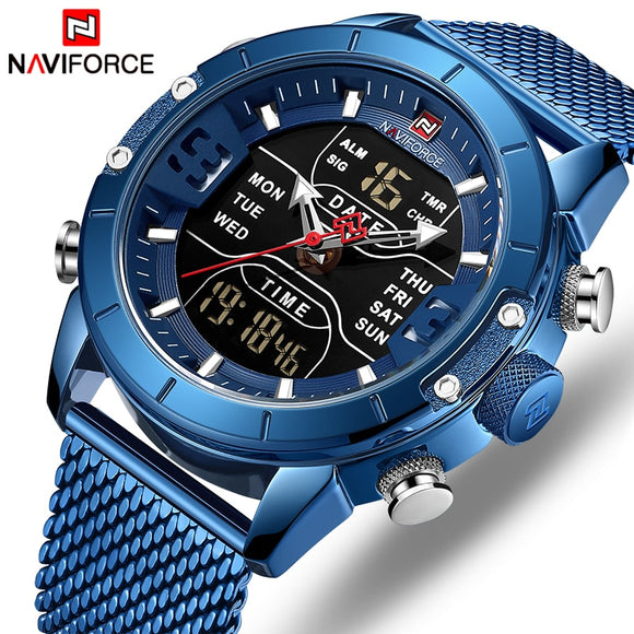 NAVIFORCE Montre pour hommes Top Luxury Brand Man Military Sport Quartz Wrist Watches Stainless Steel LED Digital