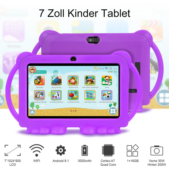 Tablettes d'éducation à l'apprentissage des enfants  Tablette 7 pouces   Best Gift for Kids Tablet Android 8.1 Quad Core 1GB 16GB Tablet Computer