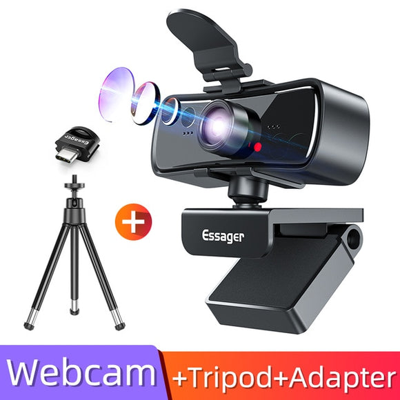 Essager C3 1080P  Webcam 2K Full HD  Webcam pour PC Ordinateur Portable USB Web Cam avec Microphone Autofocus WebCamera pour Youtube