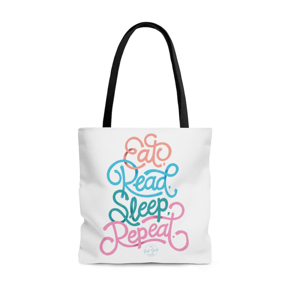 Eat, Read, Sleep, Repeat Tote Bag