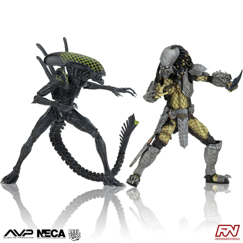 ALIEN VS PREDATOR: EXCLUSIVE 2-Pack (Battle-Damaged Celtic vs Battle-Damaged Grid Alien)