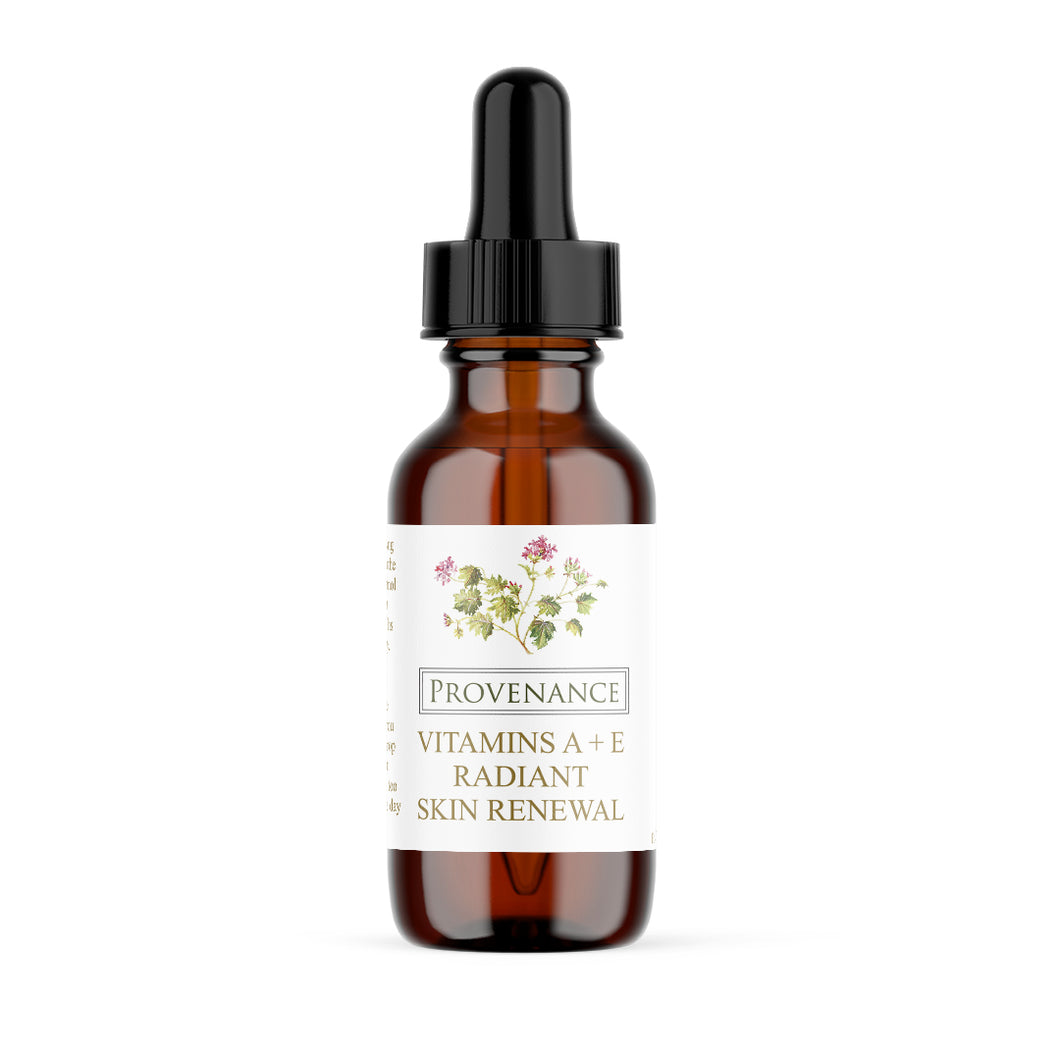 Skin Renewal Oil in small, amber glass bottle with black eye-dropper screw-top lid.