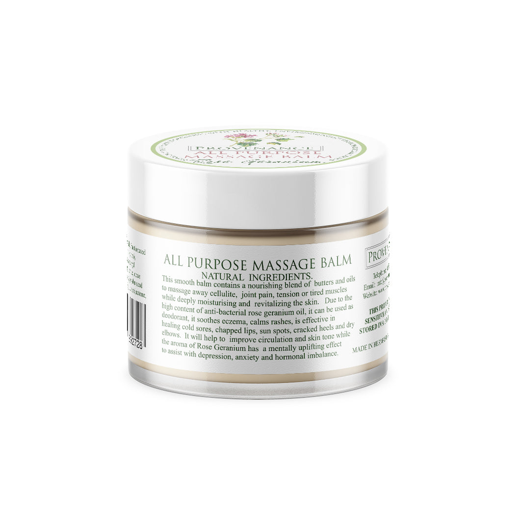 Massage balm in small clear glass jar with white screw-top lid.