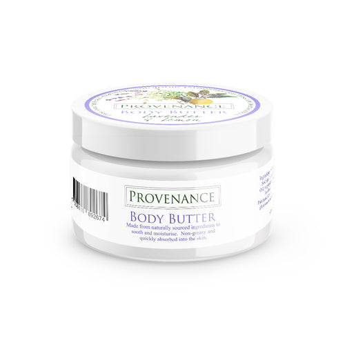 Body butter in large, glossy white cosmetics tub.