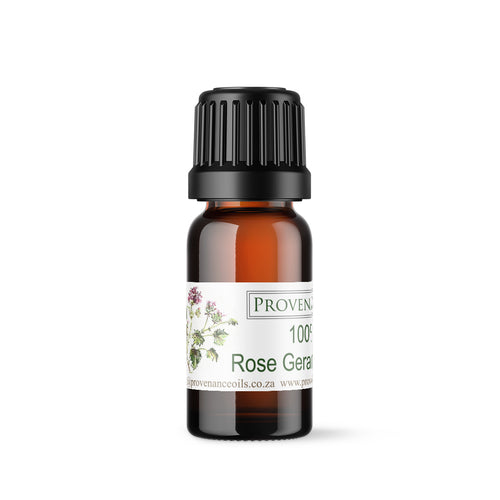 Essential oil in small, amber glass bottle with black screw-top lid.