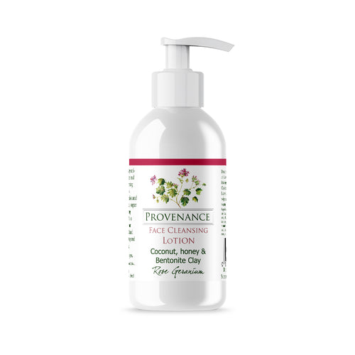Face Cleansing Lotion in clear glossy cosmetics bottle with pump.
