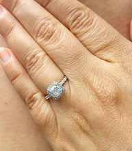 Load image into Gallery viewer, Women's Stunning 14k solid white gold cushion and Round cut diamond engagement ring halo natural diamonds 1.60ctw