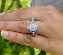 Load image into Gallery viewer, 14k white gold pear shape forever one moissanite and natural diamonds engagement ring deco Bridal Wedding Halo deco antique style  2.70ctw