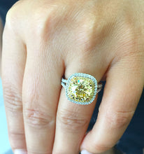 Load image into Gallery viewer, Huge Women's 14k solid white and yellow gold round cut yellow citrine and natural diamond engagement ring Bridal Wedding Halo 4.00ctw