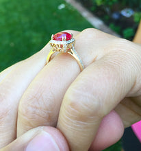 Load image into Gallery viewer, 14k Solid Yellow Gold Round Cut Ruby And Diamond Antique Design Halo Deco Ring Bridal Wedding Anniversary Halo Natural Diamonds 2.50ctw