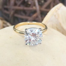 Load image into Gallery viewer, Large Four Carat set in 14k solid yellow gold cushion cut forever one moissanite engagement ring solitaire, bridal set, wedding, anniversary