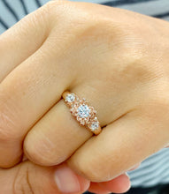 Load image into Gallery viewer, 14k Rose Gold Round Cut Diamond Engagement Ring Art Deco Antique Style, Bridal, Prong Set, Natural Diamonds, Halo, Three Stone 0.60ct